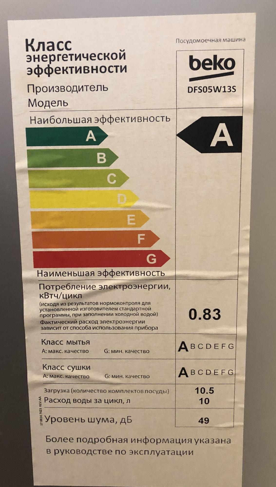 Посудомоечная машина Beko DFS05W13S в Павловской Слободе 89253690157 купить 4