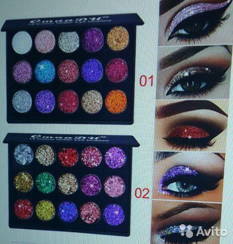 15 цветов, блестящие тени для век с блестками в Москве 89299838147 купить 8